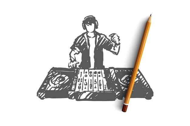 Hand getekend dj in nachtclub concept schets