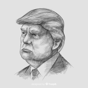 Hand getekend donald trump portret