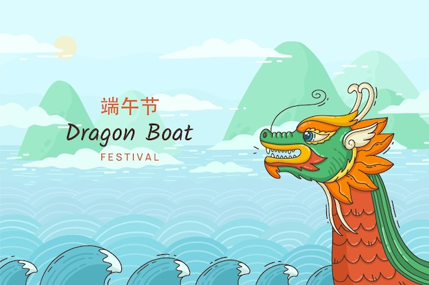 Hand getekend drakenboot achtergrond