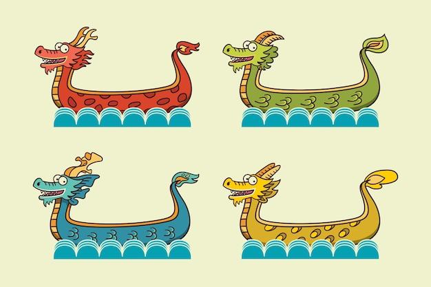 Hand getekend drakenboot collectie