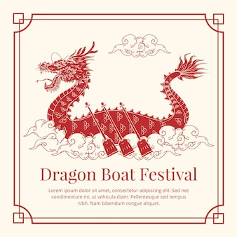 Hand getekend drakenboot festival illustratie