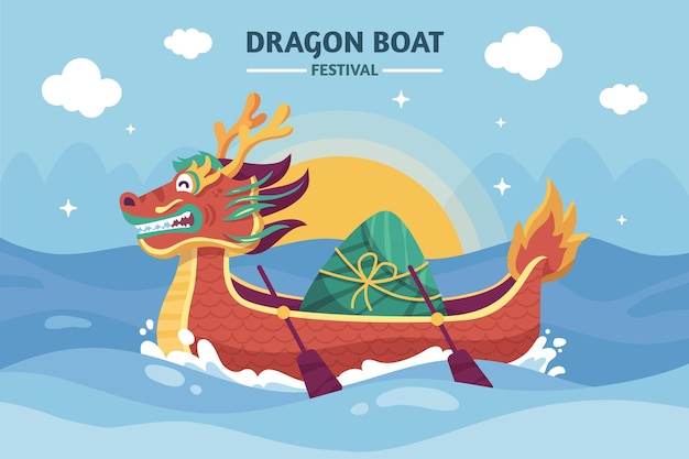 Hand getekend drakenboot illustratie