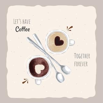 Hand getekend drankje koffie achtergrond sjabloon