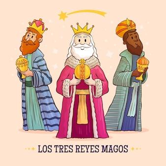 Hand getekend drie wijze mannen