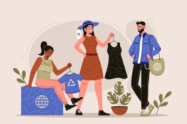 Hand getekend duurzaam mode-concept