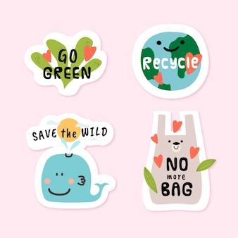 Hand getekend eco badges met groene omgeving