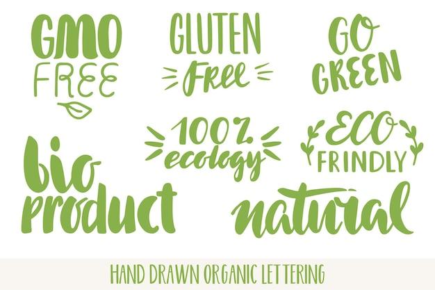 Hand getekend eco vriendelijke belettering. vector bio biologische groene set.