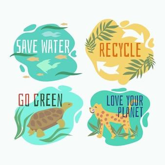 Hand getekend ecologie badges met dieren