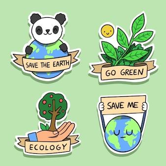 Hand getekend ecologie badges met panda en aarde