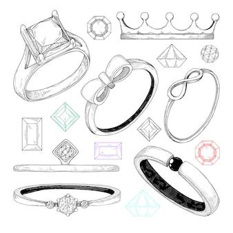 Hand getekend een aantal verschillende sieraden ringen.
