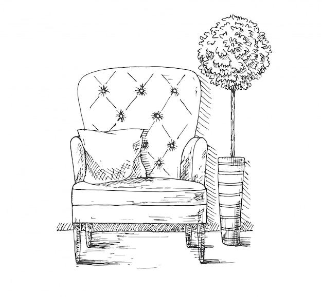 Hand getekend een zachte stoel met een kussen. vlakbij staat een plant in een grote pot.