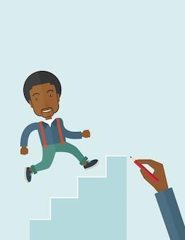 Hand getekend een zwarte man klimmen