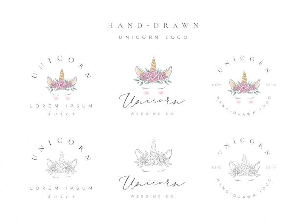 Hand getekend eenhoorn logo