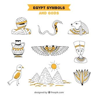 Hand getekend egyptische goden en symbolen collectie