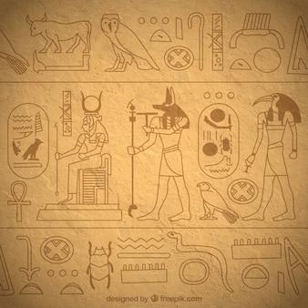 Hand getekend egyptische hiërogliefen achtergrond