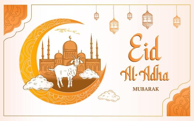 Hand getekend eid al-adha illustratie