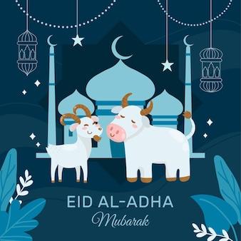 Hand getekend eid al-adha viering illustratie