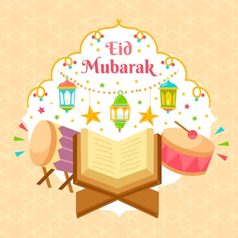 Hand getekend eid al-fitr - eid mubarak illustratie
