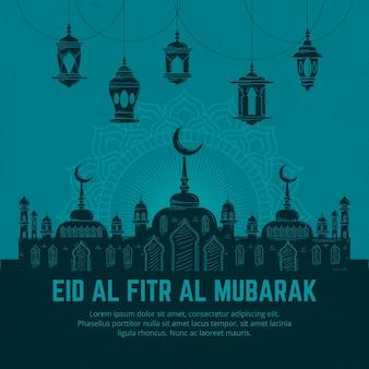 Hand getekend eid al-fitr eid mubarak illustratie