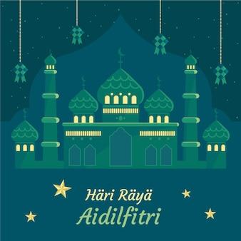 Hand getekend eid al-fitr - hari raya aidilfitri illustratie