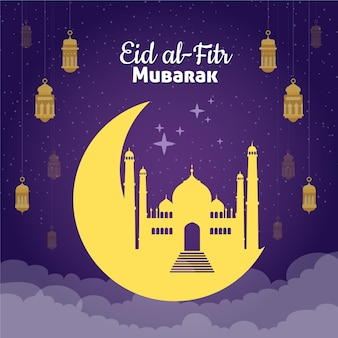Hand getekend eid al-fitr illustratie
