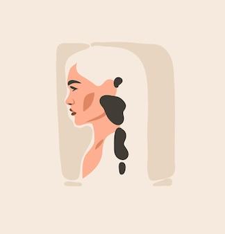 Hand getekend eigentijdse esthetische mode-illustratie met bohemien, mooi modern vrouwelijk portret