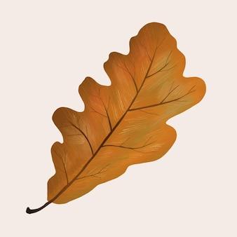 Hand getekend eiken element vector herfstblad