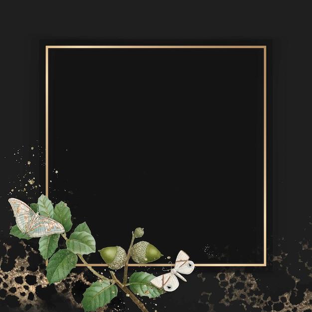 Hand getekend eikenblad patroon met vierkante gouden frame op achtergrond vector