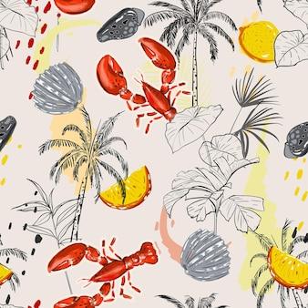 Hand getekend eiland met zomerelementen, kreeft, palmboom, schelp, citroen en jungle verlaat naadloos patroon