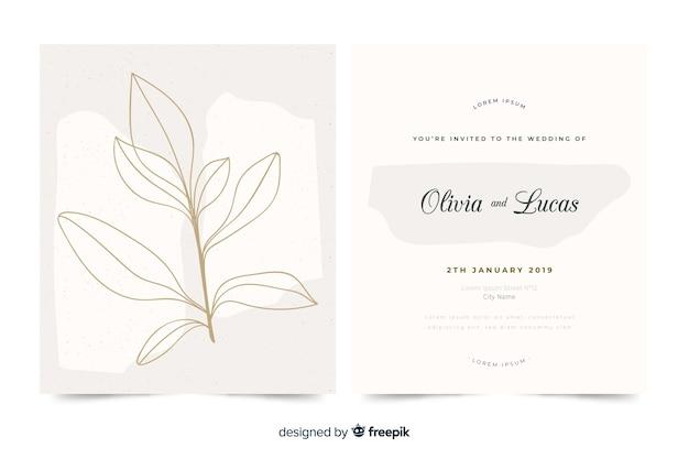 Hand getekend elegante bruiloft uitnodiging sjabloon