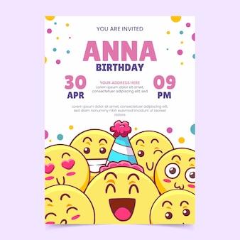 Hand getekend emoji verjaardag uitnodiging sjabloon
