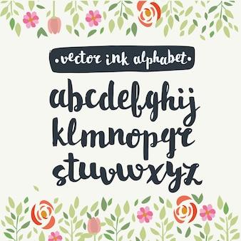 Hand getekend engels alfabet