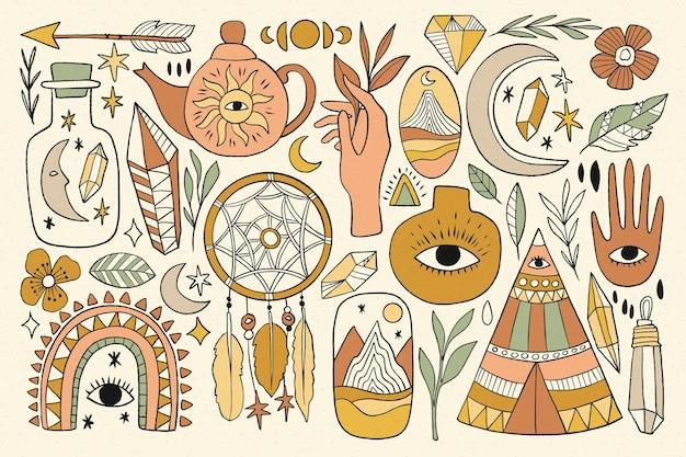 Hand getekend esoterische elementen collectie