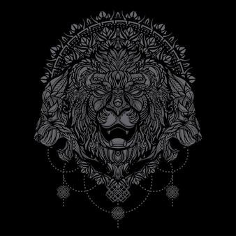 Hand getekend etnische leeuwenkop illustratie