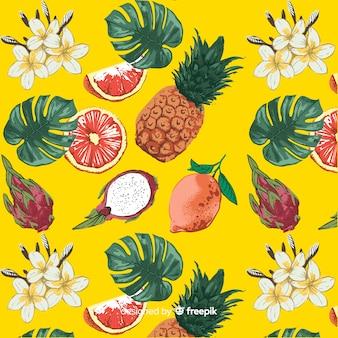 Hand getekend exotisch fruit patroon