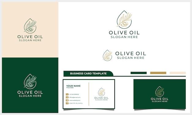 Hand getekend extra vierge olijfolie logo-ontwerp met sjabloon voor visitekaartjes