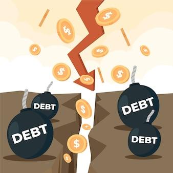 Hand getekend faillissement concept
