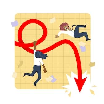 Hand getekend faillissementseffect op mensen