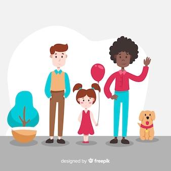 Hand getekend familieportret