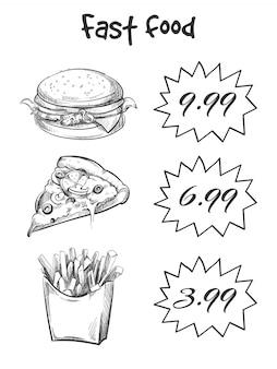 Hand getekend fast-food menu geïsoleerd op een witte achtergrond