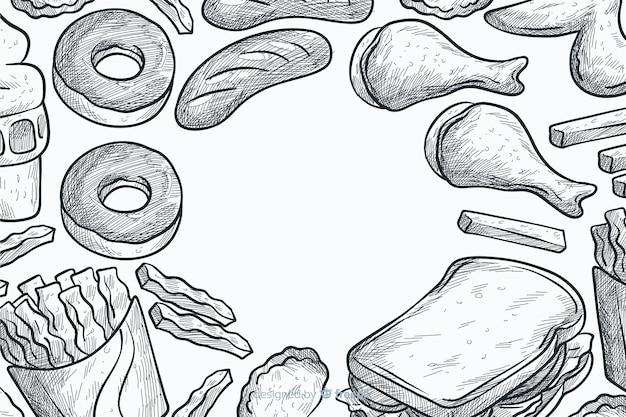 Hand getekend fastfood achtergrond