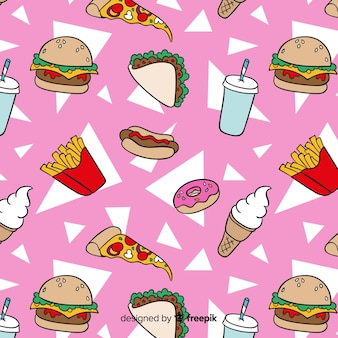 Hand getekend fastfood patroon achtergrond
