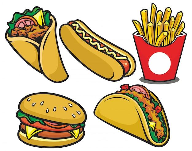Hand getekend fastfood restaurant illustratie