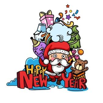 Hand getekend feest voor gelukkig nieuwjaar