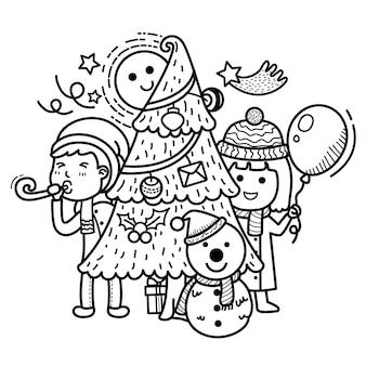 Hand getekend feest vrolijk kerstfeest
