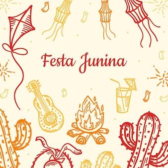 Hand getekend feestelijke festa junina illustratie