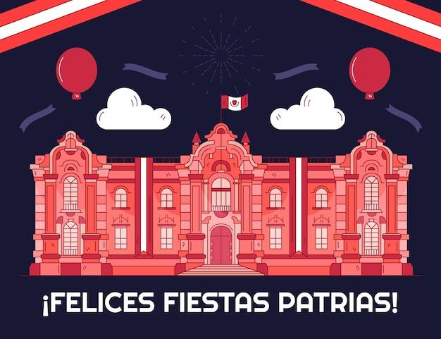 Hand getekend feesten patrias de peru illustratie