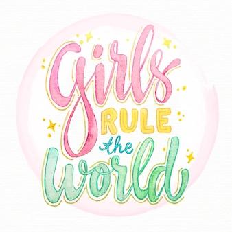 Hand getekend feministische belettering meisjes regels