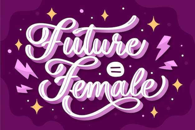 Hand getekend feministische belettering toekomst is vrouwelijk citaat