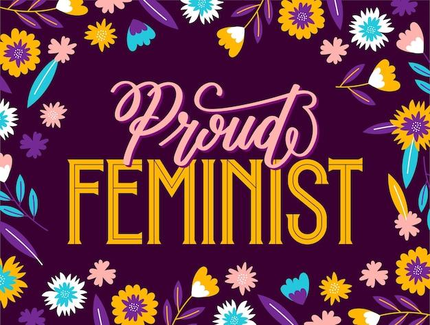 Hand getekend feministische belettering